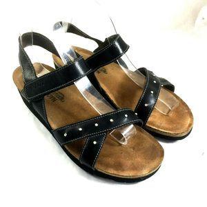 NAOT Studded Sandal Wedge Open Toe Black Leather